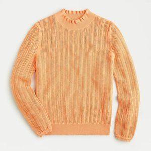 J.Crew Pointelle Ruffle Mockneck Cotton Sweater
